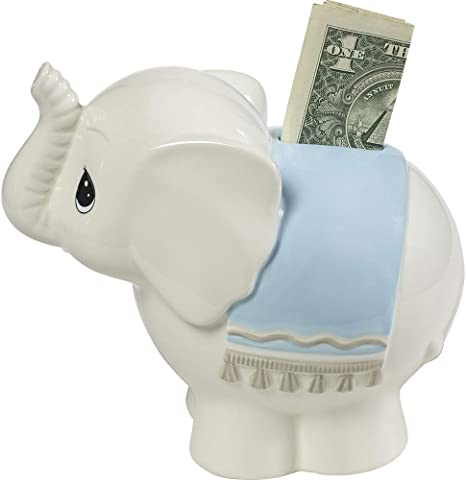 Personalised Porcelain Money Box Piggy Bank Watercolour Baby Elephants Blue Ideal gift for a newborn baby or Christening Present