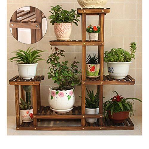 Garden Wooden Plant Stand Pot Planter Holder Rack 5 Tier Display Shelves - Decanter Pot