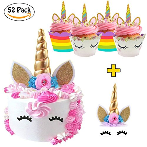 (52 Pack) La La Unicorn Cake Topper & Cupcake Toppers and Wrappers Party Decorations Set – Gold Horn with Eyelashes…