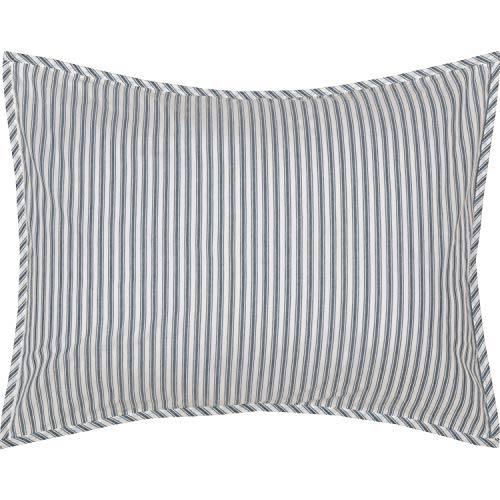 VHC Brands Farmhouse Bedding Miller Farm Charcoal Ticking Cotton Striped Standard Sham, Blue Denim (Sham Blue Striped)