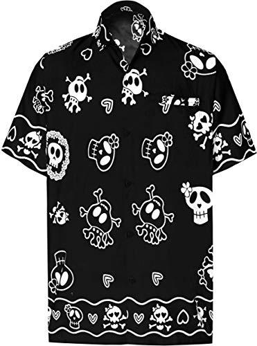 LA LEELA Men's Hawaiian Shirt Office Wear Short Sleeve Shirts 4XL Black_W188