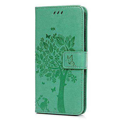 tophung Huawei P20Lite Case, Premium PU Leder Flip Notebook Wallet Case Embossed Cat Schmetterling mit Ständer Karte Halterung ID Slot Folio Weiche, schützende Haut Schutzhülle für Huawei P20Lite bl grün