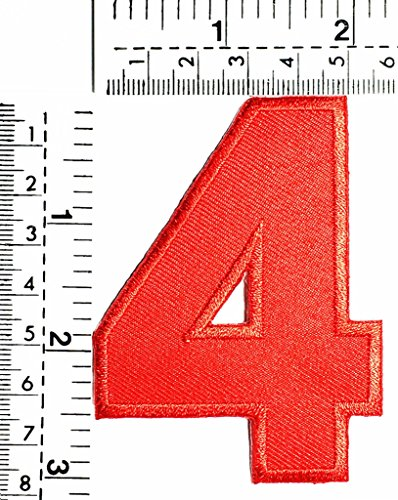 Red Number 4 Patch Number four counting logo Letter school symbol counting logo jacket T-Shirt patch iron on patch