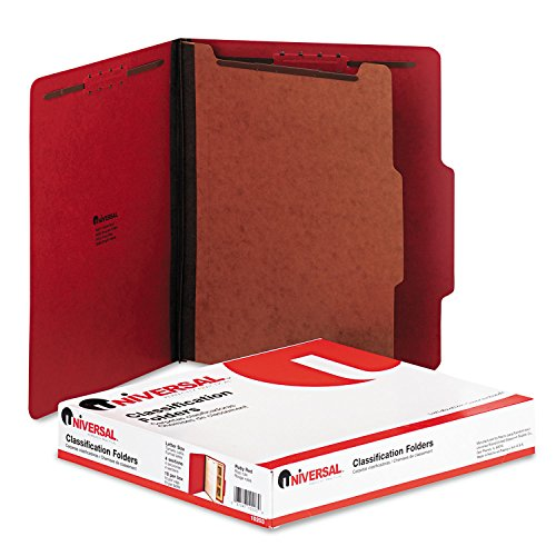 (Universal 10203 Pressboard Classification Folders, Letter, Four-Section, Ruby Red, 10/Box)