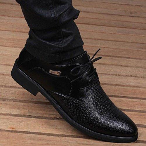 Ocasionales del Zapatos Los Respirable del De Dedo Black para Hombres Planos Pie Zapatos del Cuero Hombres La Agujero del Los Punta Oscuro Baja De del De Negocio Verano qxAwWEvZ4
