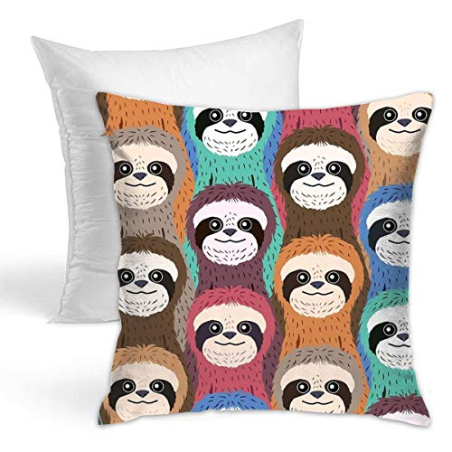 Osvbs Sloth Pattern Creative Home Double-Sided Printed Cushion Decorative Pillowcase with Pillow Invisible Zipper 16.5