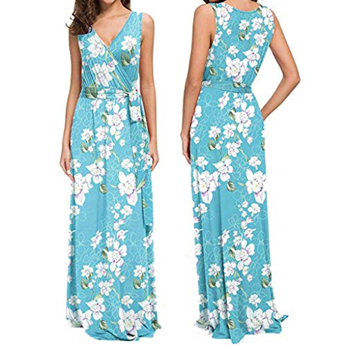 Weiliru Maxi Dresses for Women,Womens V Neck Sleeveless Summer Floral Maxi Dress Light Blue