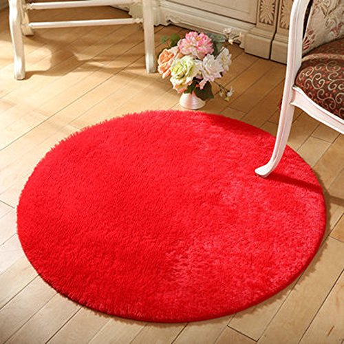 DODOING Red Rug Round Area Rug Non-Slip Bathroom Mat Yoga Mat Living Room Bedside Rugs,Diameter - Carpet Shag Red