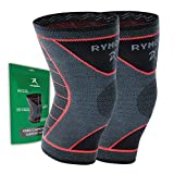 Rymora Knee Support Brace Compression Sleeves for Men and Women (Pair) (Large) [L]