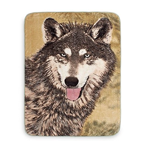 1 Piece 50x60 Grey Brown Animal Print Throw Blanket, Wildlife Cabin Lodge  Cottage Wolf Theme