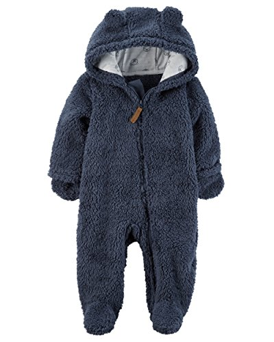 Carter's Baby Boys' Newborn-9M Hooded Sherpa Pram Sleep & Play, Blue, 3 Months (Bunting Sherpa)