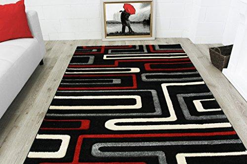 Havana Living Room Set (Modern Soft Stylish Red & Black Geometric Print Living Room Carpet Area Rug - Havana 5'3