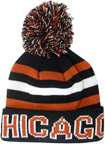 - Chicago Adult Size Winter Knit Beanie Hats (Black/Red Thick)