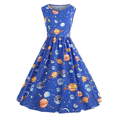 Answerl☀ Summer Spring Sleeveless Casual Flared Tank Dresses for Women Cosmic Starry Sky Printed Dress Blue
