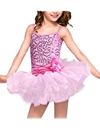 Girls Sequins Ballet Dress Gymnastics Dance Leotard Costume Kids Tutu Dancewear