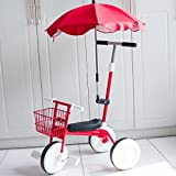 QXMEI Children's Tricycle Pedal 1-3 Years Old Children's Lightweight Trolley Bicycle Baby Stroller,Red