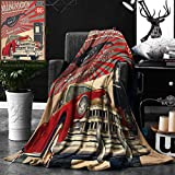 Unique Custom Double Sides Print Flannel Blankets Cars Decor Poster Style Gasoline Station Commercial With Kitschy Elements Route 66 Super Soft Blanketry for Bed Couch, Throw Blanket 50 x 70 Inches