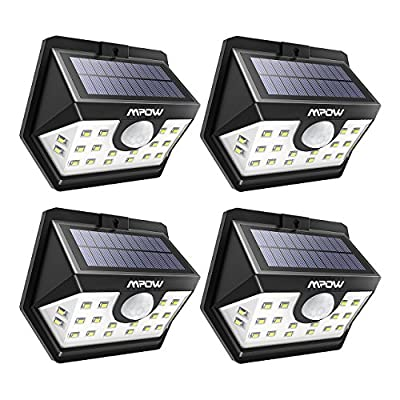 Mpow Solar Lights Outdoor, Bright 20 LED Motion Sensor Lights with Wide Angle Lighting, IP65 Waterproof Wireless Security Lights for Garage Front Door Garden Pathway - 4 Pack (Auto On/Off)