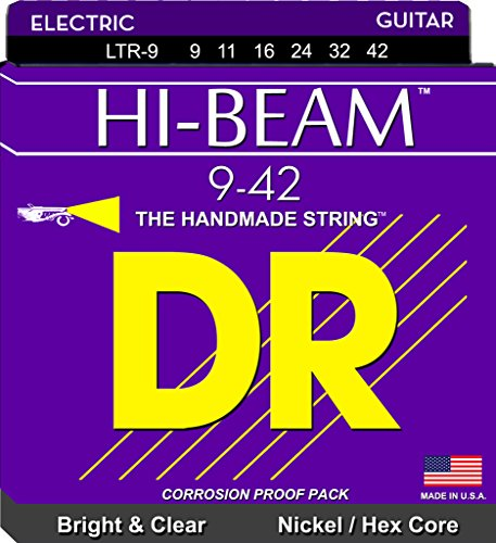 DR Strings Electric Guitar Strings, Hi-Beam, Hex Core 9-42