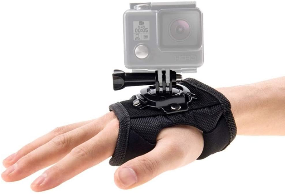 ParaPace Wrist Strap Mount for GoPro Hero 8/7/6/5s/5/4s/4/3+,360 Degree Panoramic Swiveling Hand Glove Mount for YI Discovery SJCAM AKASO