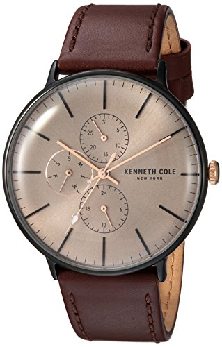 Kenneth Cole New York Men's Quartz Stainless Steel and Leather Casual Watch, Color:Brown (Model: KC15189002)