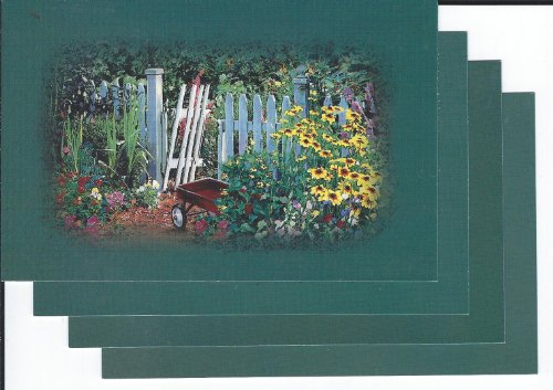 4 POSTCARDS (FLOWER GARDEN WITH WHITE PICKET FENCE & RED WAGON) HARLEQUIN POSTCARD COLLECTION 1999