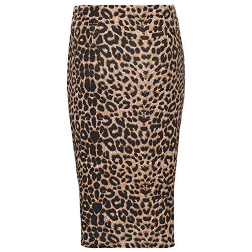 Plus midi Janisramone Women Wiggle Stretchy Lopard Bodycon Printed Pencil Skirt Marron 8Sw8Aq