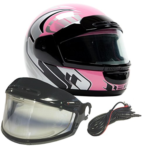 Typhoon Helmets Adult Snowmobile Helmet with Electric Heated Shield Mens Womens Full Face Dual Lens - Pink (XL) -
