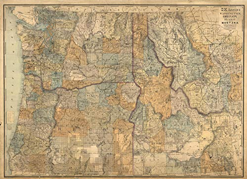 Map Poster - Sectional map of Washington, Oregon, Idaho, and western Montana - 24