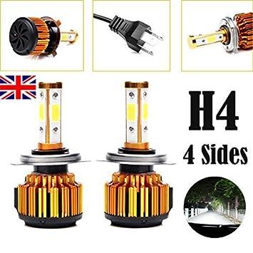 H4 9003 HB2 LED bombillas para faros delanteros 20.000 Lm 6000 K puro blanco Super brillante doble de baja y alta haz Kit de conversión 2pcs: Amazon.es: ...