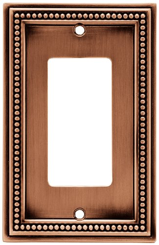 Brainerd 64242 Beaded Single Decorator Wall Plate / Switch Plate / Cover, Aged Brushed Copper