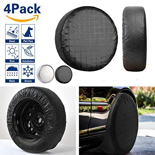 (VIEFIN Set of 4 Wheel Tire Covers, Waterproof UV Sun RV Trailer Tire Protectors, Fit 27