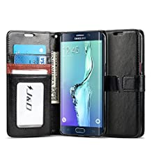 Galaxy S6 Edge Plus Case, J&D [Stand View] Samsung Galaxy S6 Edge Plus Wallet Case [Slim Fit] [Stand Feature] Premium Protective Case Wallet Leather Case for Samsung Galaxy S6 Edge Plus (Incompatible with Galaxy S6 Edge) (Black/Brown)