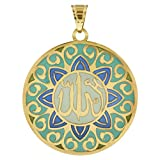 Gem Avenue 14k Yellow Gold Green Blue Enamel Allah Written Islamic Muslim 23mm Round Unisex Pendant #UP002