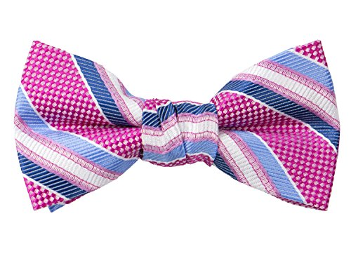 Pre-tied Woven Bow Tie Medium Blue Pink Stripes ()