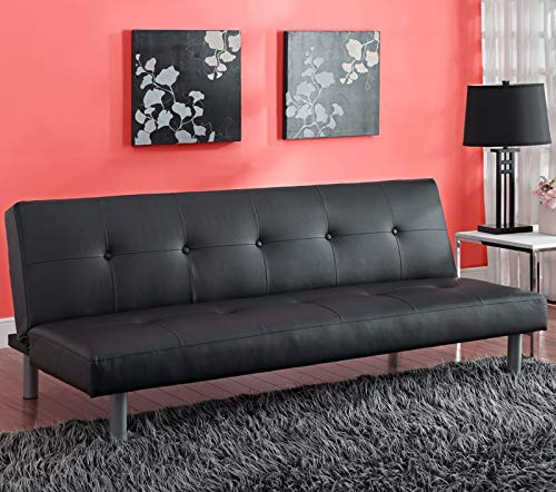 Modern Convertible Sofa Sleeper - Contemporary Futon Couch - Upholstered Daybed for Living Room (Black)