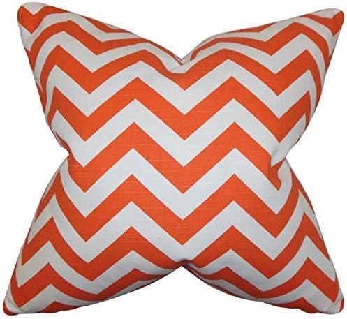 The Pillow Collection Falkner Chevron Tangerine Down Filled Throw Pillow Home Kitchen
