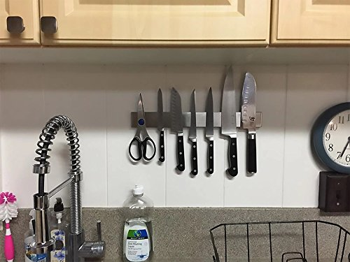 Magnetic Knife Holder - 16'' (40cm) STAINLESS STEEL - 15kg Holding Power - Magnetic Knife Strip - Kitchen Knife Block Replacement by Inspired Home Living (Image #4)