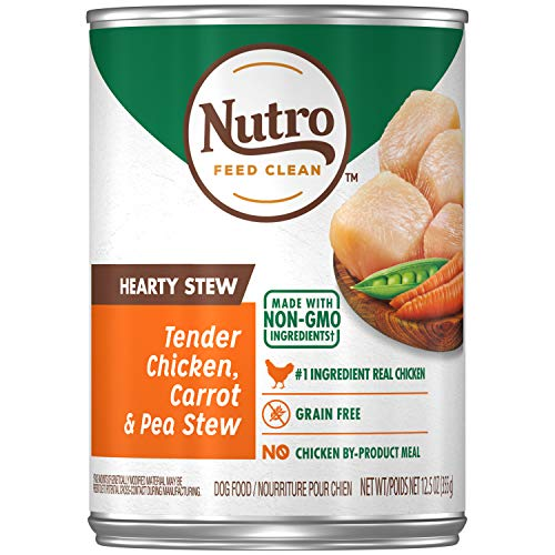 NUTRO HEARTY STEW Adult High Protein Natural Wet Dog Food Cuts in Gravy Tender Chicken, Carrot & Pea Stew, (12) 12.5 oz. Cans (The Best Chicken Stew)