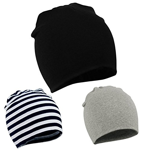 Knit Boys Beanie (Zando Baby Kids Knit Hat Cool Baby Boy Caps Toddler Infant Hat Soft Cotton Slouchy Stretch Beanie for Baby Hats A 3 Pack Black Stripe Light Grey Small (0-12 months))