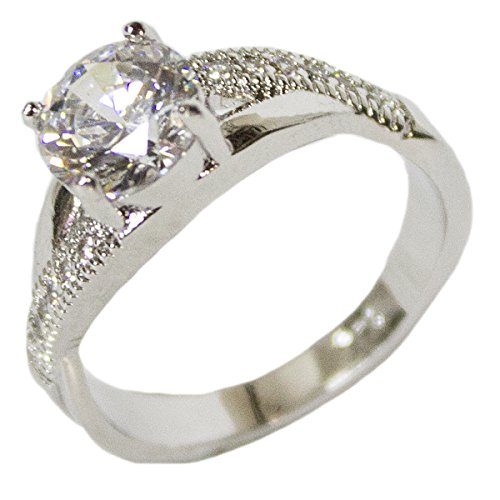 - Women's Rhodium Plated Dress Ring Criss Cross Band Round Cut CZ 114 (9)