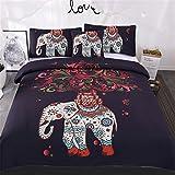 Sleepwish 4 pcs Bohemian Bedspread Ethnic Elephant Tree Duvet Cover Exotic BohoDuvetCover Elephant Bed Set Twin Size