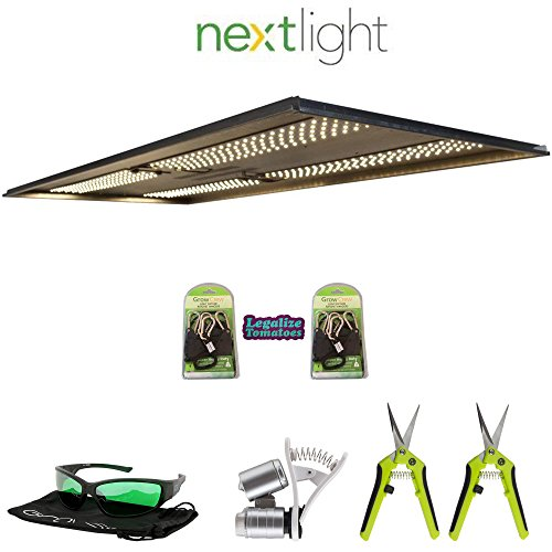 NextLight Veg8 Premium LED Grow Light Package | Includes 2X Grow Crew Ratchet Hangers, 2X Trimming Scissors, LED Glasses, and Phone Microscope | 5 Year Warranty | Legalize Tomatoes Sticker ()