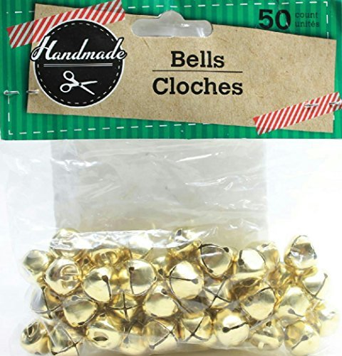 ((Pack of 2) 50 Handmade Small Craft Jingle Bells (Gold))