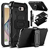 Galaxy J7 V Case, Galaxy J7 Perx Case, Galaxy J7 Sky Pro Case, Venoro Heavy  Duty Shockproof Rugged Protection Case Cover with Belt Swivel Clip and