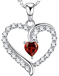 Mothers Day Gift for Mom Her women Red Garnet Heart Necklace Birthday Anniversary Jewelry Sterling Swarovski