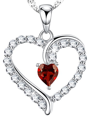January Womens Necklace (Love Heart Pendant Necklace Sterling Silver Red Garnet Swarovski Fine Jewelry Birthday Anniversary Gifts for Her for Women 18