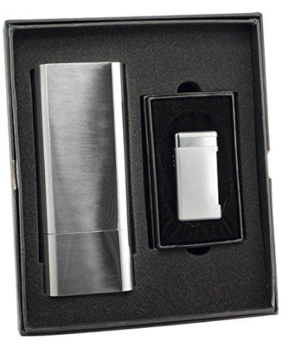 Visol Livorno Cigar Case and Kompano Matte Chrome Torch Flame Lighter Set