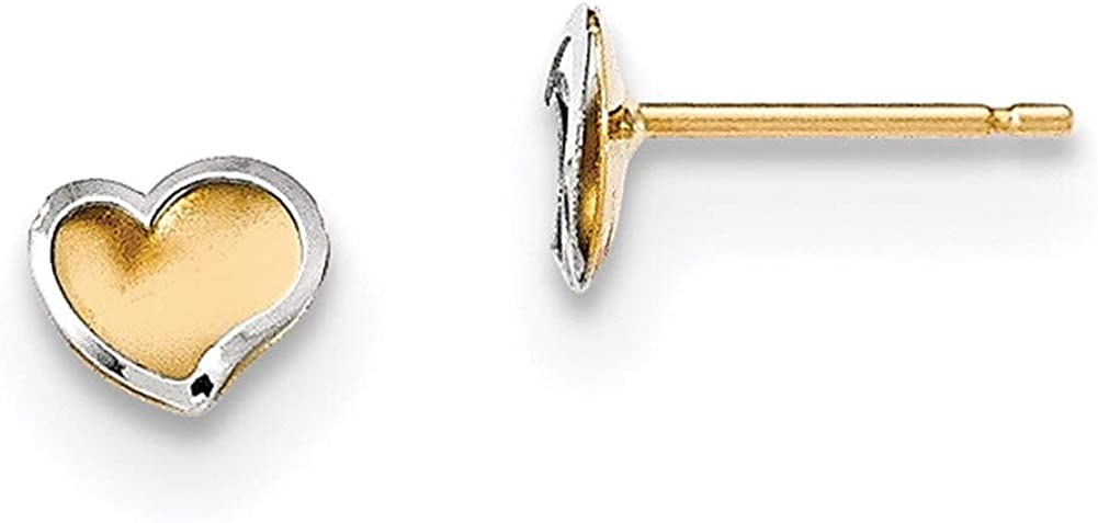 Lex /& Lu 14k Two-tone Gold Polished and Satin Heart Post Earrings