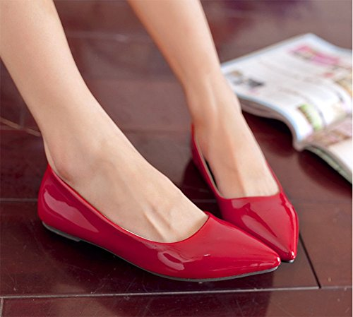 CHFSO Womens Sweet Vivid Color Pointed Toe Flat Heel Patent Leather Dress Pumps Red TEQmn